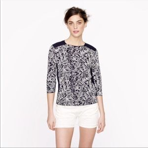 J. Crew Navy Embroidered 3/4 Sleeve Top Size M